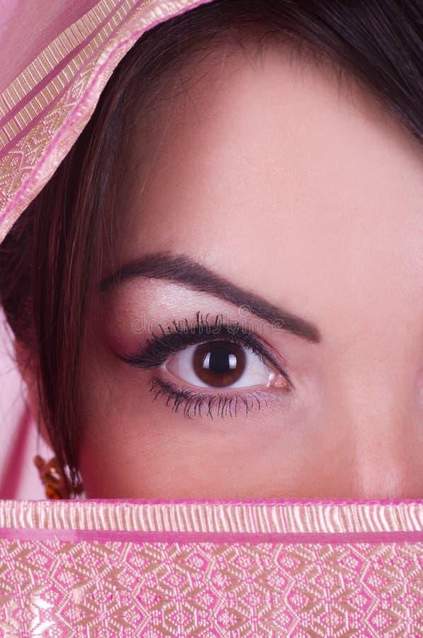 Download Womanish Eye In Pink Yashmak Stock Photo - Image of adult, cloak: 23265634