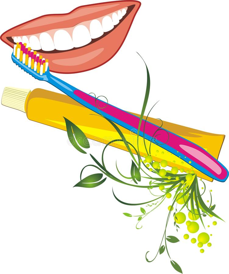 Womanish smile, tooth brush and paste stock photo