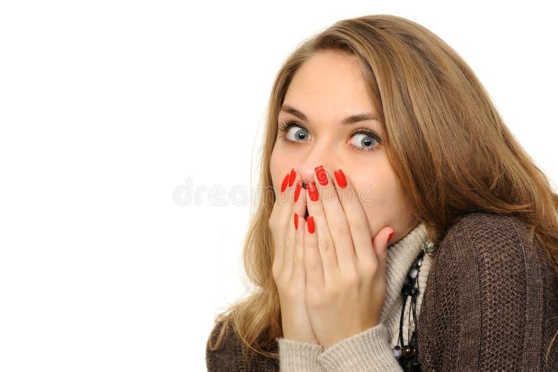 Womanl con entrega la boca fotografía de archivo libre de regalías