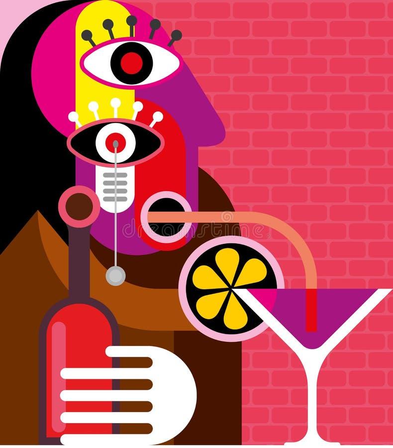 Womanl som dricker en coctail royaltyfri illustrationer