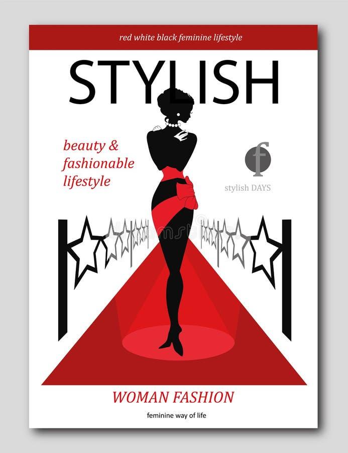 Womanon abstrait un tapis rouge avec des étoiles Conception de luxe de couverture de revue de mode illustration libre de droits