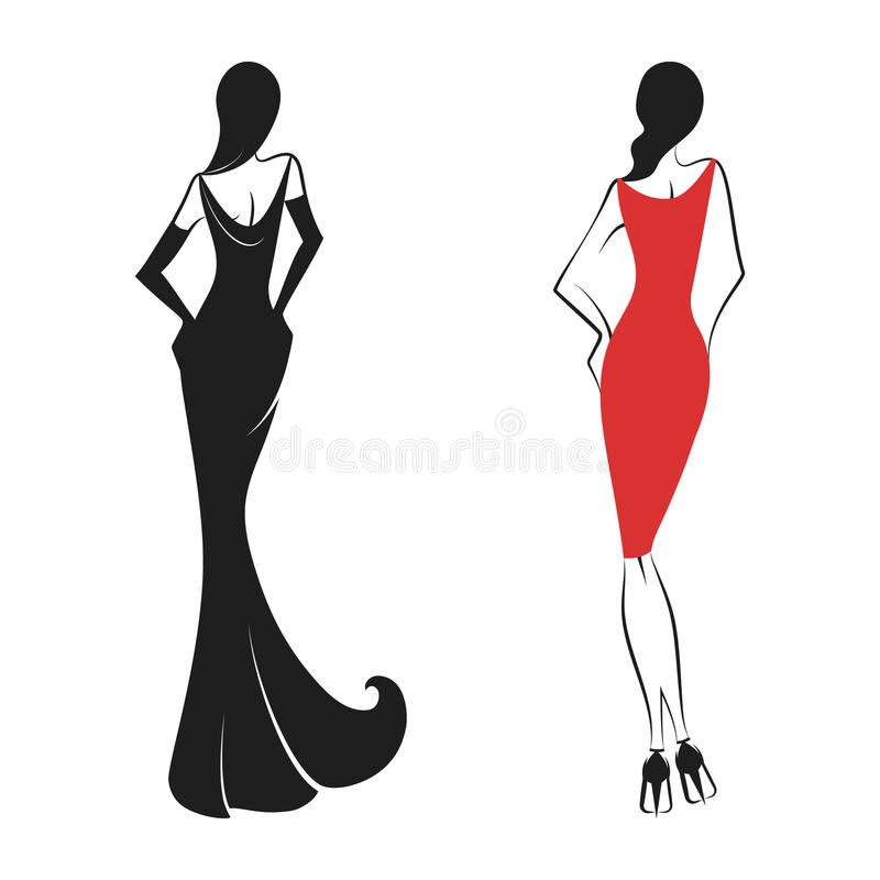 Womans in the ball gown black. Womans in the ball gown silhouette. Back view. Vector stock illustration