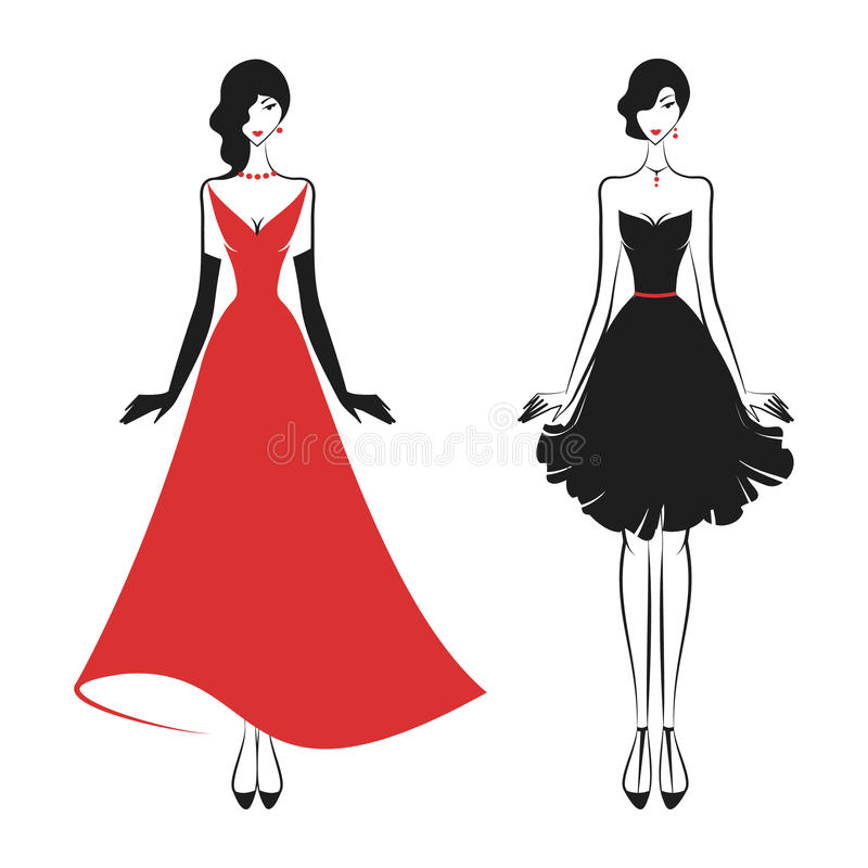 Womans in the ball gown. Silhouette vector stock illustration
