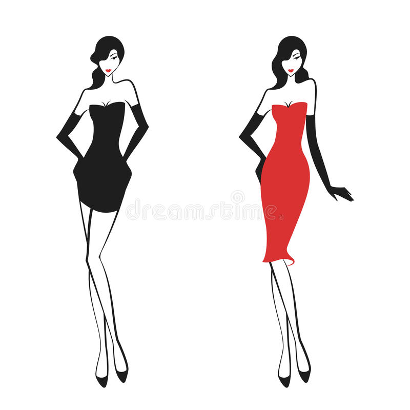 Womans in the ball gown. Silhouette. Vector vector illustration