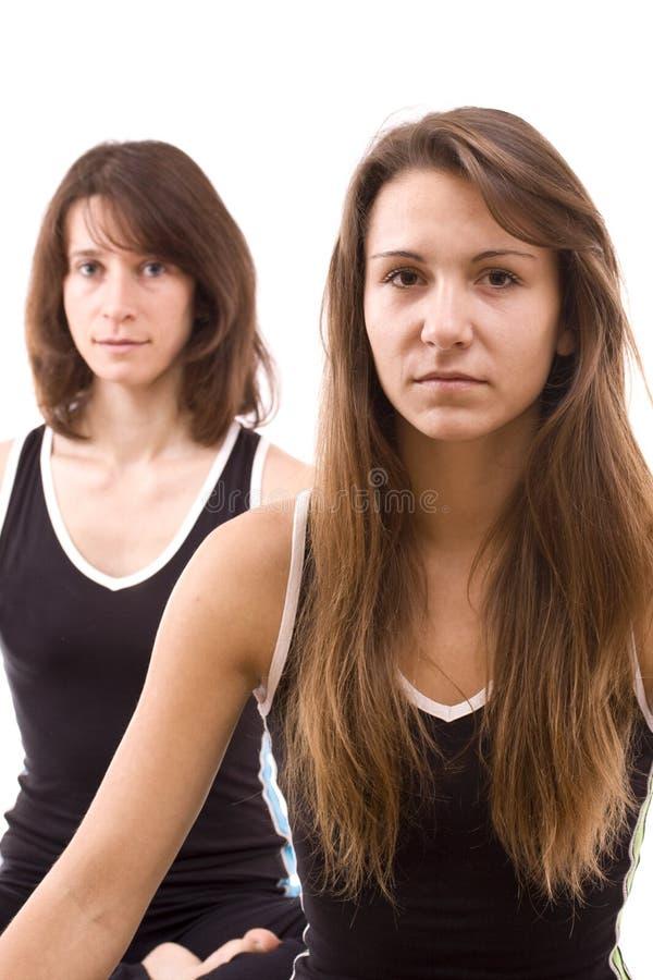 Womans, das Yoga tut stockbilder