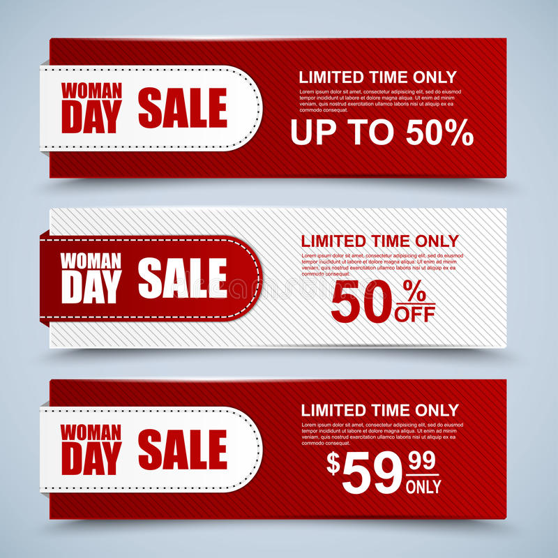 Womans Day collection sale banners stock illustration