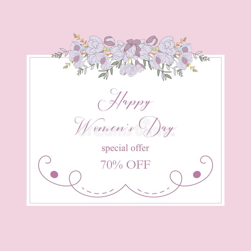 Womans Day collection sale banners.Sale Discount 8 March Happy Women s Day poster. Eighth March gift card. Spring royalty free illustration
