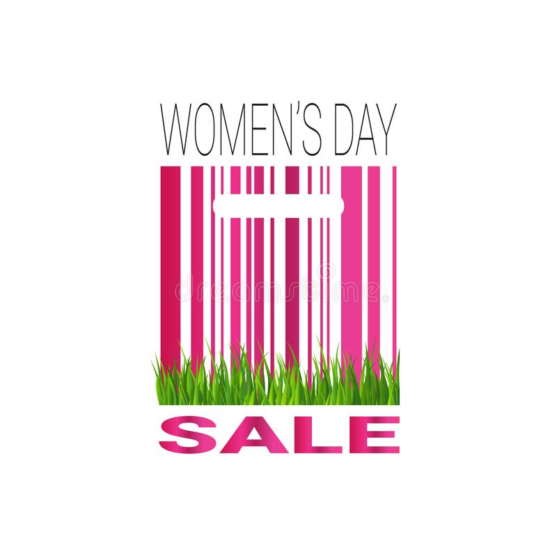 Womans day sale sign with bar code template promotion sticker special offer tag. Vector illustration vector illustration