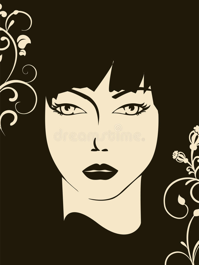 Download Womans Face With Floral Elements Stock Vector - Image: 11430283