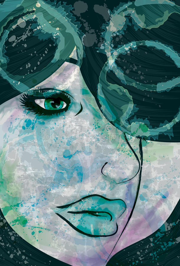 Womans face with grunge and painted elements. Artistic painted woman's face with grunge texture stock illustration