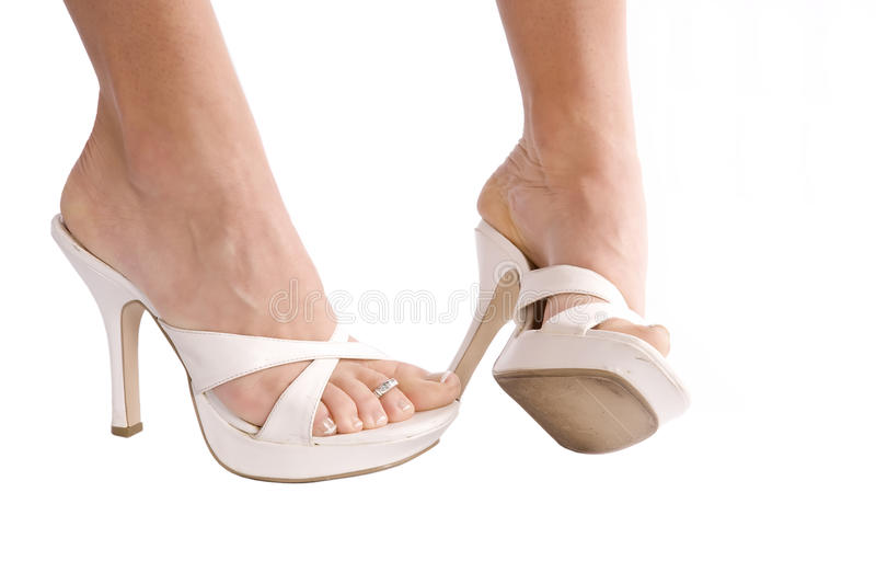 Womans feet one sideways royalty free stock photography