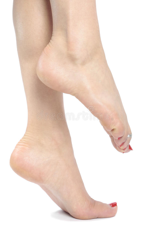 Womans feet over white stock image