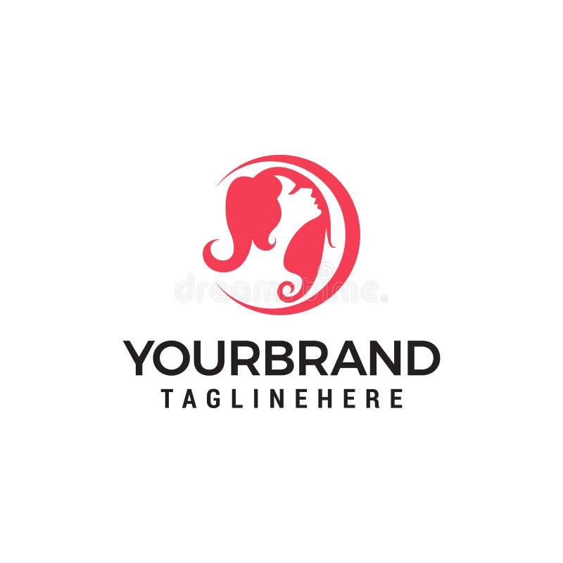 Womans hair style beauty salon logo template stock illustration