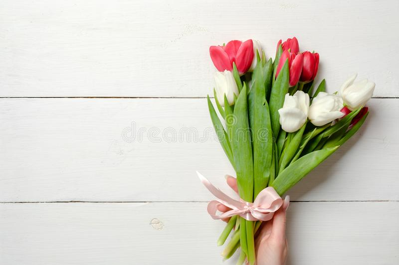 Womans hand holding Bouquet of tulips on white wooden horizontal striped board. Greeting card for International Womans Day, Mother. S Day, wedding, birthday stock photo