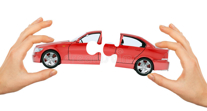 Womans hand making car puzzle. Isolated on white background stock images