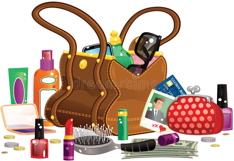 Womans handbag and contents. An illustration of a woman's handbag and various items you might find in it, including purse, brushes and lipstick. All items royalty free illustration