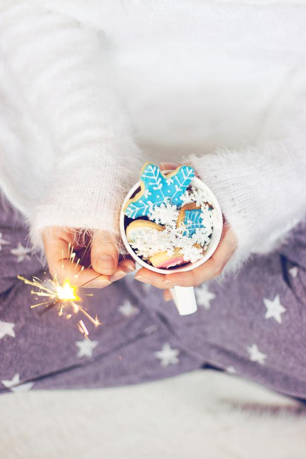 Womans hands holding a cup with winter/christmas cookies; winter background with copy space stock image