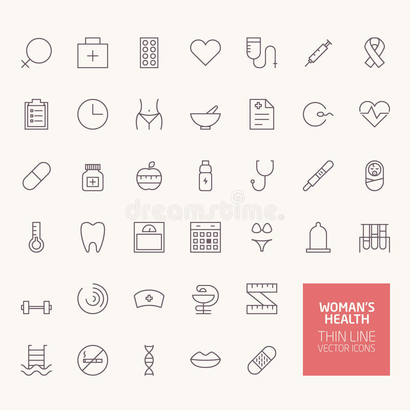 Womans Health Outline Icons stock illustration