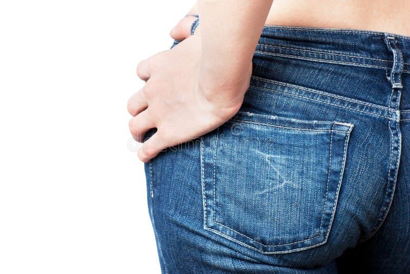 Womans Jeansrückseite stockfotografie