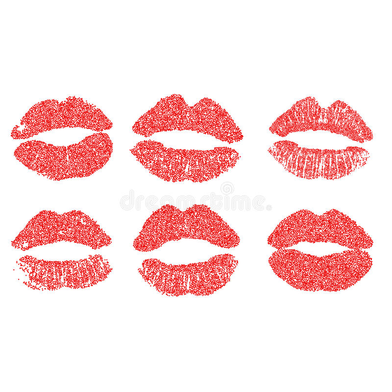 Womans lip dotted set. Girl mouths close up with red lipstick makeup. EPS vector. Womans lip dotted set. Girl mouths close up with red lipstick makeup. EPS10 stock illustration