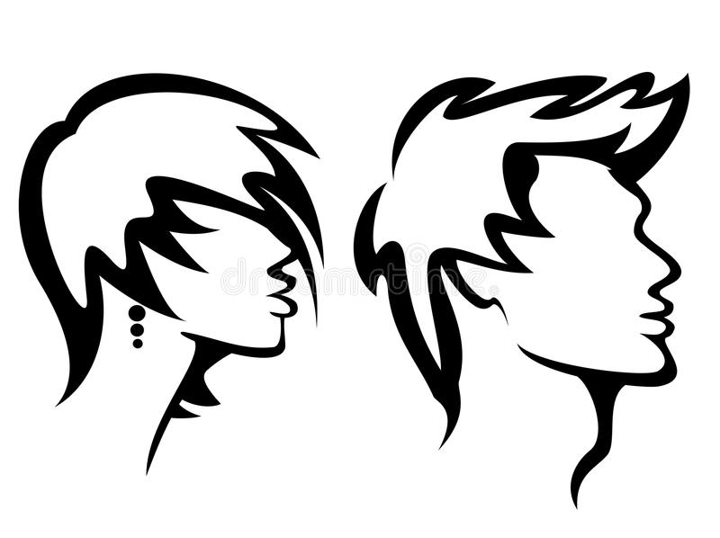 Womans and mans haircut styles royalty free illustration