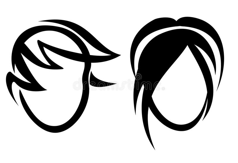 Womans and mans haircut symbol vector illustration