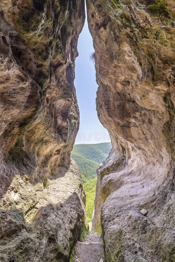 The womb cave also known as Utroba cave in Bulgaria royalty free stock photos