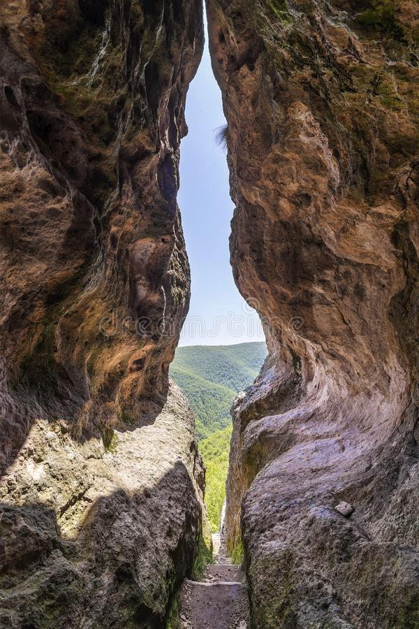 The womb cave also known as Utroba cave in Bulgaria stock photo