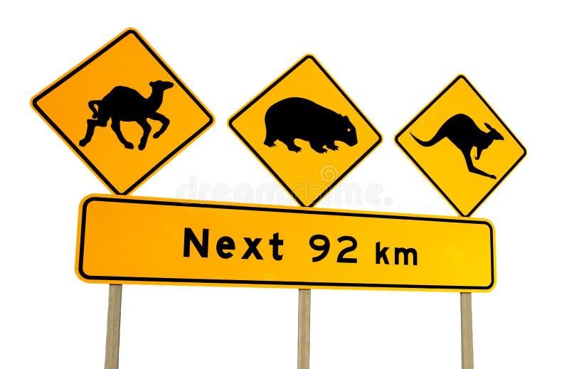wombat знака кенгуруа верблюда Австралии предупреждающее стоковая фотография rf