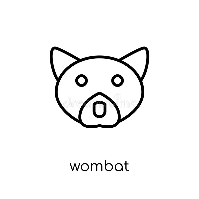 Wombatpictogram In modern vlak lineair vectorwombatpictogram op whi vector illustratie