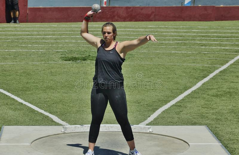 Women's Shot Put at the 2016 Mt. Sac Relays . These ladies work hard at their sport. Women's Shot Put at the 2016 Mt. Sac Relays .This year at stock photo