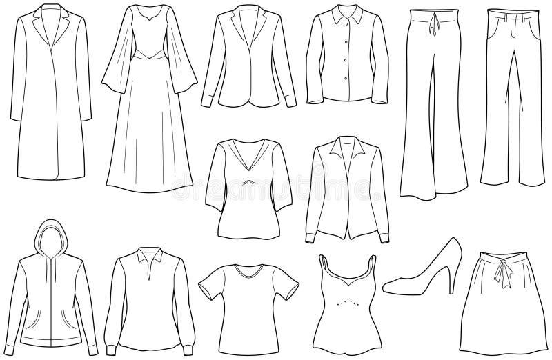 Womenâs beiläufige Kleidung lizenzfreie abbildung