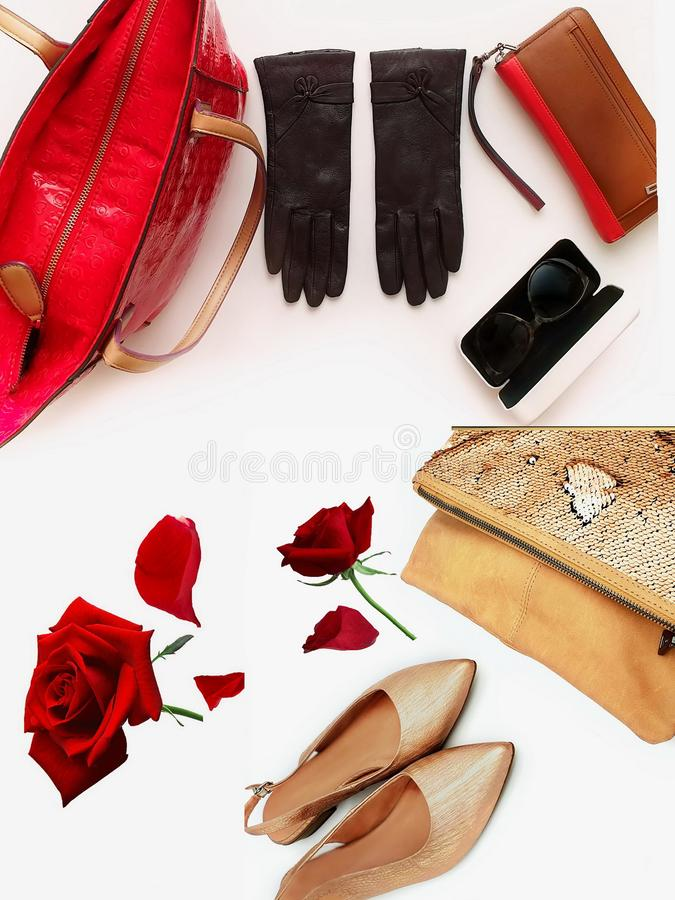Gold red shoes handbag gloves sunglasses women accessories luxury stylish fashion trends clothes copy space  background isolate. Women accessories collection royalty free stock image