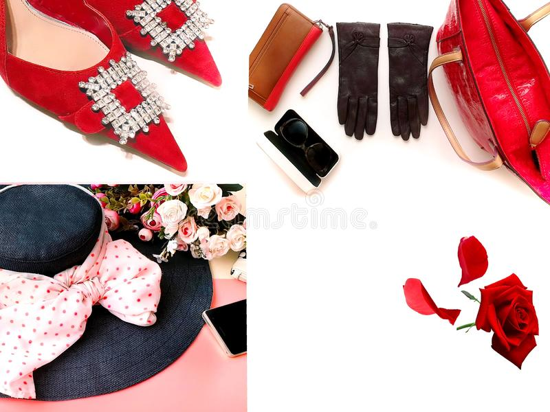 Red shoes handbag hat gloves sunglasses women accessories luxury stylish fashion trends clothes copy space background isolate. Women accessories collection,Gold royalty free stock photo