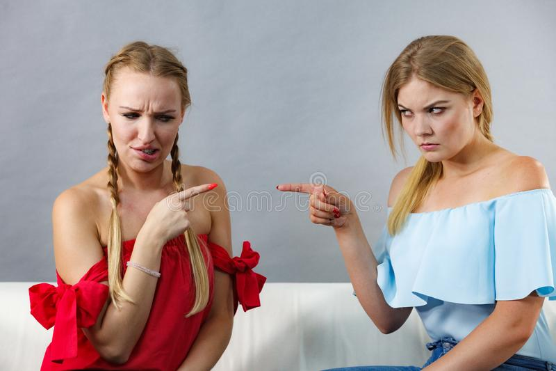 Women accusing each other of something royalty free stock photography