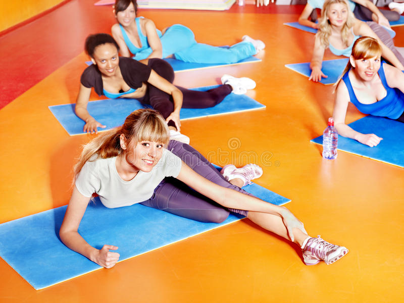 Download Women in aerobics class. stock image. Image of ethnic - 24459455