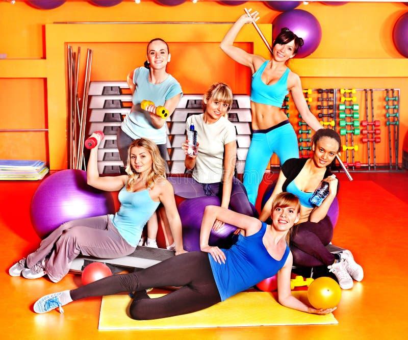 Women in aerobics class. Women group in aerobics class royalty free stock photo