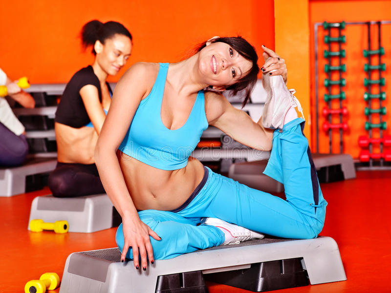 Download Women in aerobics class. stock photo. Image of beautiful - 34068516
