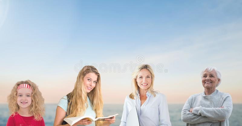 Women of age generations growing up with sky. Digital composite of women of age generations growing up with sky royalty free stock photography
