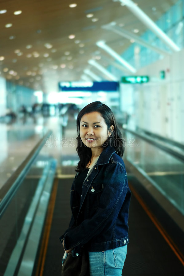 Download Women at airport stock photo. Image of pose, interior, indoor - 106674