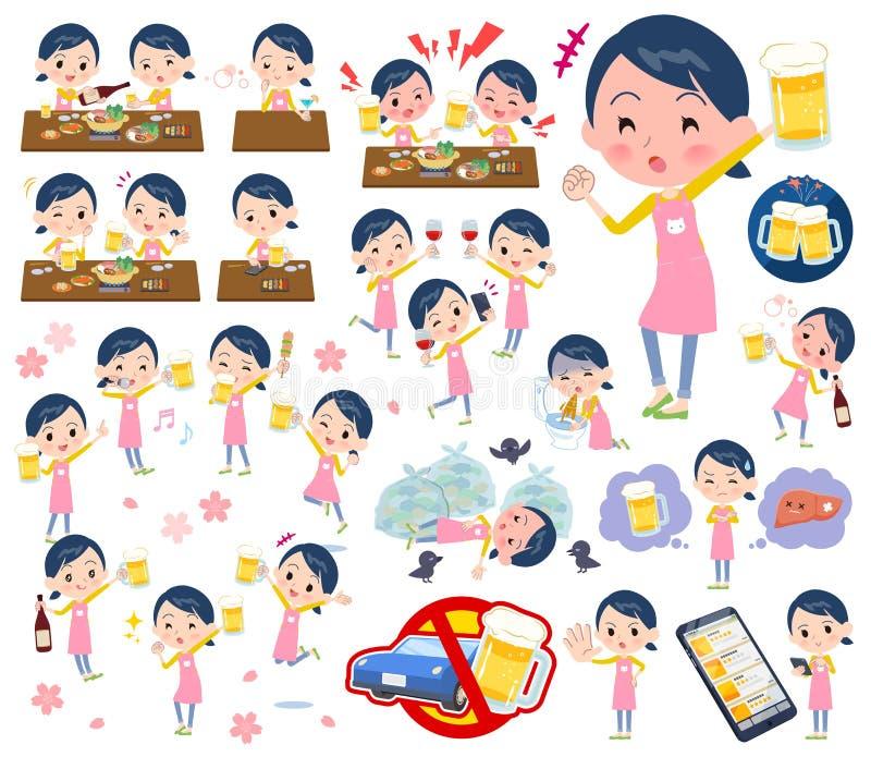 Women_alcohol de gardienne d'enfants illustration de vecteur
