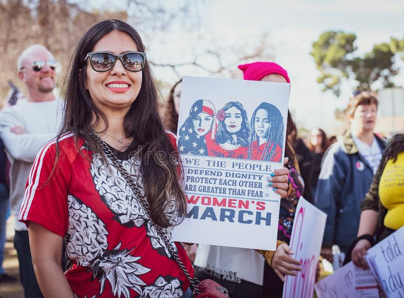 2019 Women`s March for Equality. Women from all over the United States march in the streets of local citys in protest for equality. This event was held in royalty free stock image
