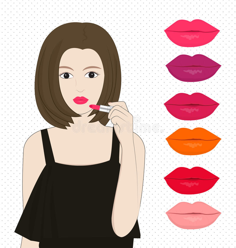 Women applying lipstick. And colour of labias on white background vector illustration