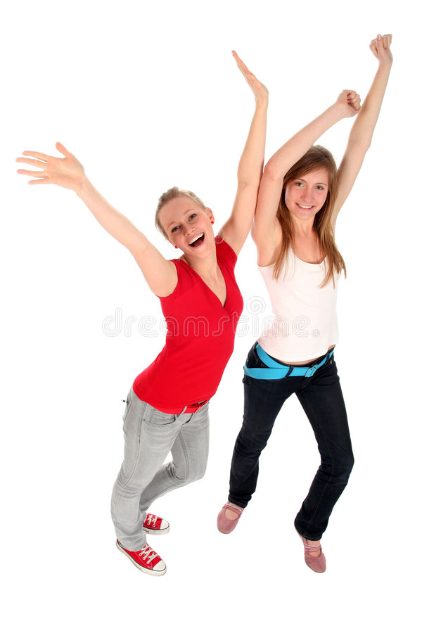 Women With Arms Raised Stock Image