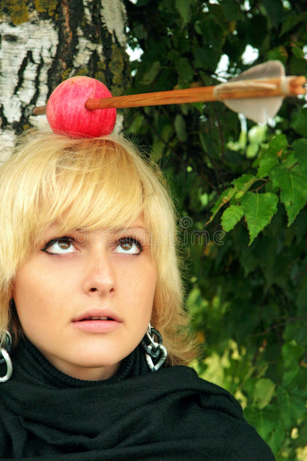 Download Women With The Arrowed Apple On The Head Stock Image - Image: 11607031