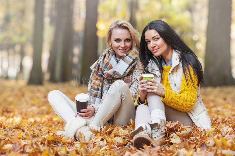 Women in autumn park drink coffee royalty free stock photos