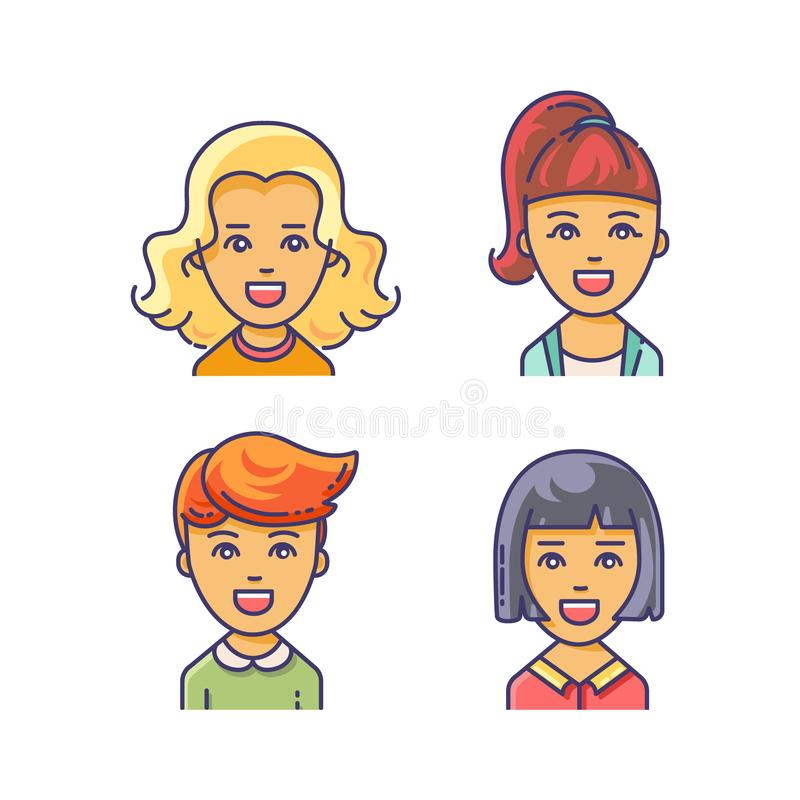 Women avatar icon with different haircuts. stock illustration