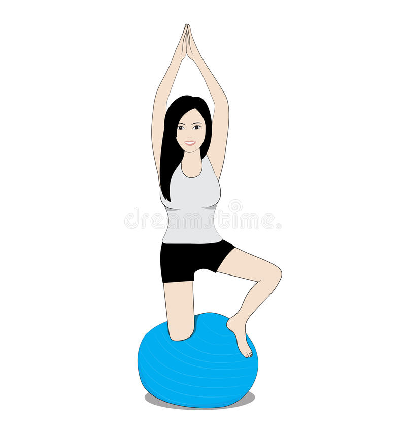 Women on balance ball. Women play balance ball on white background stock illustration