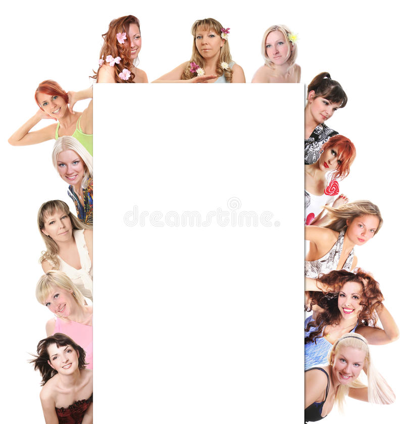Women and banner. Group of women on white royalty free stock photo