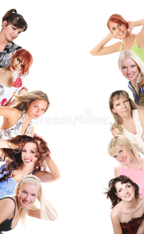 Women and banner. Group of women on white stock photos